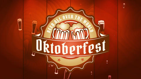 chic oktoberfest festival signboard with size rounded insignia with flooding brew mugs toasting over Videos animados