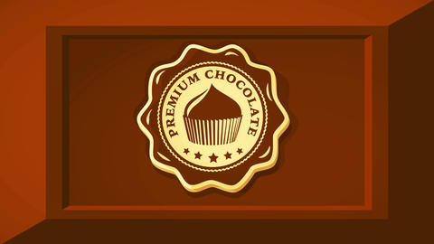 premium chocolate product brand with delicious cupcake graphic on center of cocoa bar square with 3d Videos animados