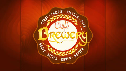 craft brewery advertisement with golden wheat branches icon representing quality and good taste over Videos animados