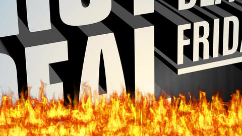 black friday discount deal concept with big 3d steel lettering shining and floating over hot flames Animation
