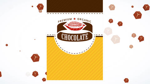 premium organic brown bar boxing concept science with cocoa pod graphic with medal on layered scene Animation