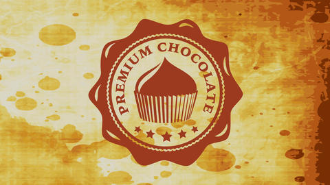 premium chocolate cupcake package concept with wavy rounded icon made with liquid cocoa over stained Videos animados
