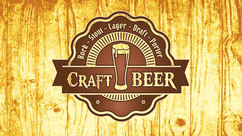 carved wood signboard for craft beer brewery bar with long glass on wavy graphic and elegant ribbon Videos animados