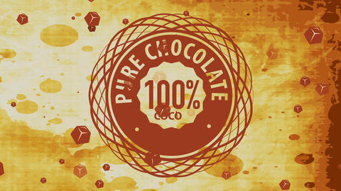 aged cocoa product trademark offering 100 rate perfect chocolate with fancy helix graphic over dyed Videos animados