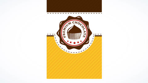 premium chocolate cupcake package made with three different layers with shiny topping graphic giving Animation