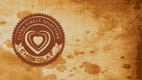 extra best option food mark with cocoa heart illustration internal twist oval icon over damaged Animation