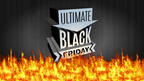 black friday ultimate warm agreement with 3d shiny steel figure over darkness scene with blaze below Animation