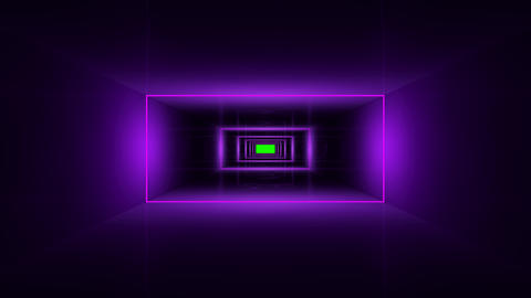 Lilac corridor with glowing squares in motion, green screen alpha Animation