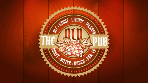 the old pub beer brewery with elegant icon decorated with shiny details stamped on wooden background Animation