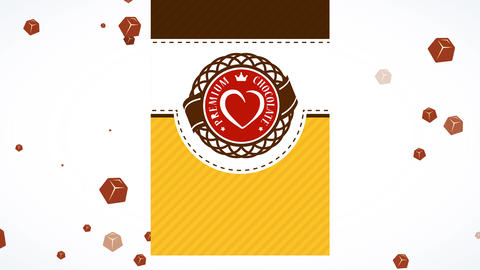 valentines day brown heart bombon crate with classic icon decorating patterned scene with clipping Animation