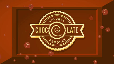 natural drink product announcement with round tribal style symbol over savory 3d food bar figure Animation
