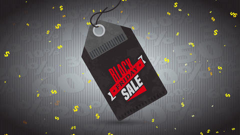 black friday transfer publicity with red and dark tag illustration suspended over pattern scene with Animation