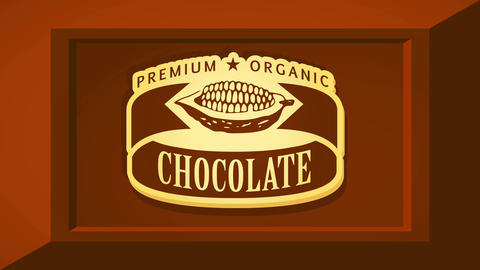 premium organic chocolate bar brand concept art with cocoa pod graphic over brown 3d square Animation
