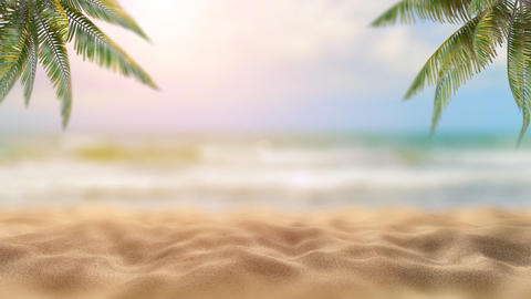 Holidays on the sea under palm trees Beautiful sunset on the sea and palm trees Fantastic 3d render GIF