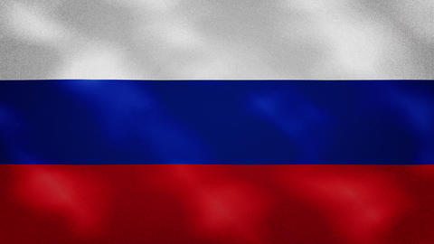 Russian dense flag fabric wavers, background loop Animation