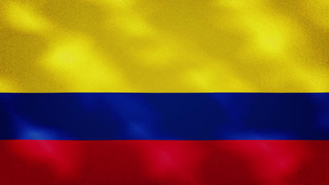 Colombian dense flag fabric wavers, background loop Animation
