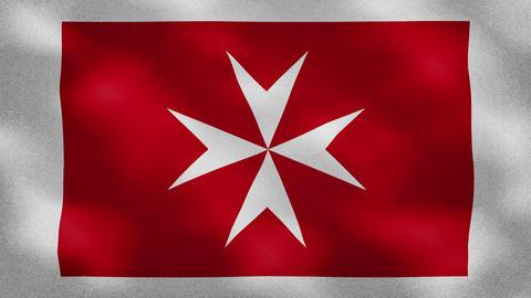 Civil Maltese dense flag fabric wavers, background loop Animation