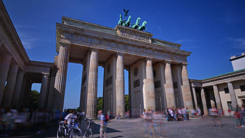 Time lapse of tourists visiting Brandenburg Gate in Berlin in a sunny day Footage