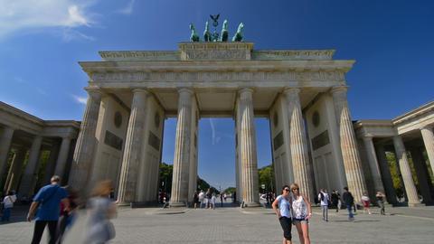 Berlin, Germany. Circa August 2016. Timelapse of tourists visiting Brandenburg G Footage