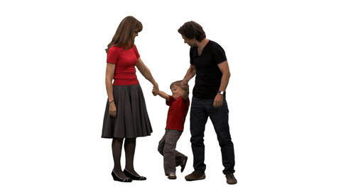 Capricious boy and his parents standing & waiting something, alpha channel Footage