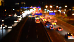 Defocused night traffic lights-Bangkok Footage