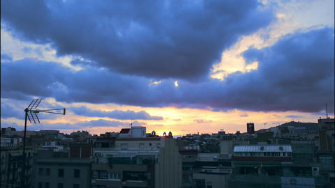 Barcelona skyline cloudy time lapse Live Action