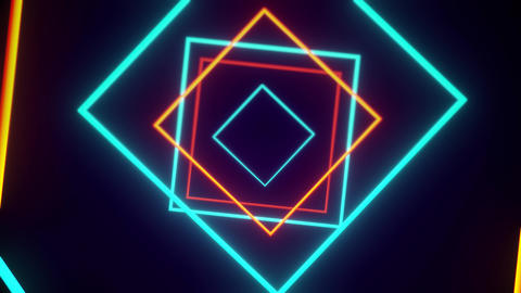 Alternating Orange And Blue Square Shaped Lights Forming Endless VJ Tunnel Animation