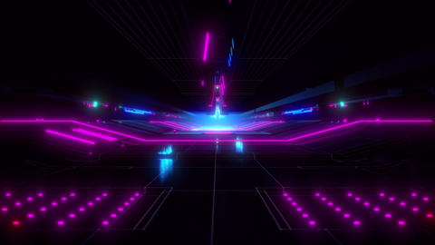 Endless Science Fiction Hangar With Blue And Purple Lights Looping Video Animation