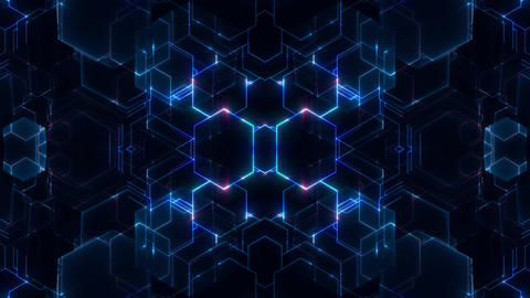 Science Fiction Grid Of Blue And Red Hexagons With Firing Circuits Animation