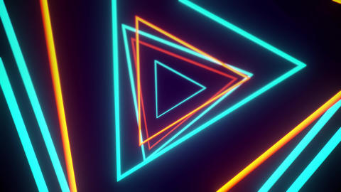 VJ Tunnel Of Orange And Blue Triangles Looping Seamlessly Animation