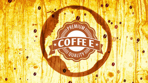 fancy coffee quality irregular seal for healthful product brand inner cup grunge over sparkling Animation