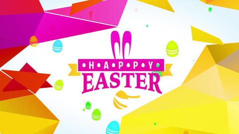 humorous cheerful easter embryo hunt announcement with ornamental pink hare ears and gold polygon Animation