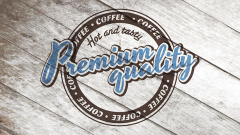 hot and tasty premium quality coffee brand idea with vintage rounded icon over deteriorated wooden Animation