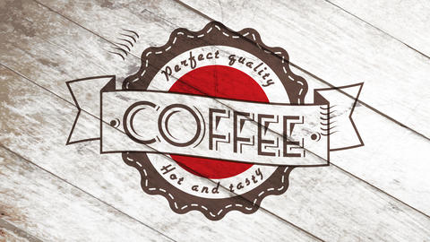 hot and tasty quality coffee perfect presentation for vintage business card with wavy icon over Animation