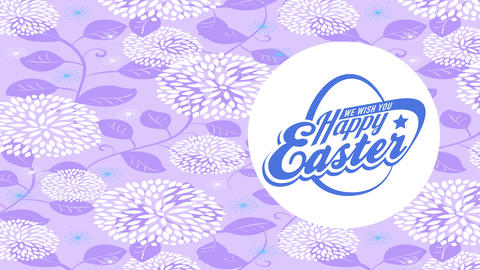 cheerful easter fluorescent insignia with old-fashioned writing on white curve floating over golden Animation