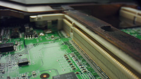 Computer electronic motherboard. Macro view of printed circuit board components Live Action