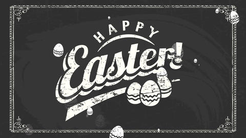 warehouse holiday advertisement with white chalk old-fashioned typing ornate with easter egg Animation