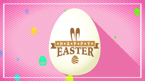 cool 3d white easter egg with yellow mark over pink patterned background for vacation reception Animation
