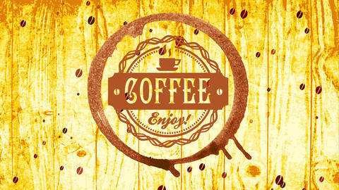 coffee store publicity with chocolate mug stain and circular embroidered icon on wooden texture Animation