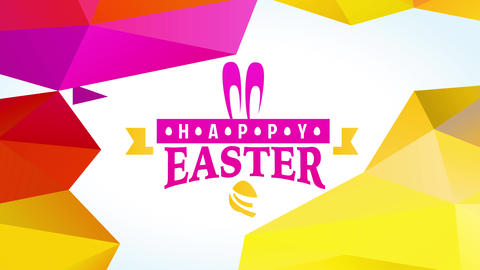playful happy easter egg hunt announcement with decorative pink bunny ears and yellow polygon Animation