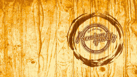warm and tasteful coffee sign for cafe with retro round symbol and typography over blonde timber Animation