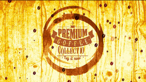 fancy coffee set parcel cover concept with mug grunge painted with watercolour on wood with creative Animation