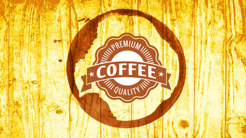 premium coffee quality wavy emblem for organic product brand inside cup stain over shiny wood Animation