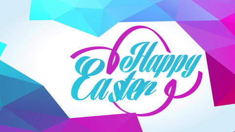 disco style joyful easter greeting card with colour and aqua color typing and 3d polygon ornamental Animation