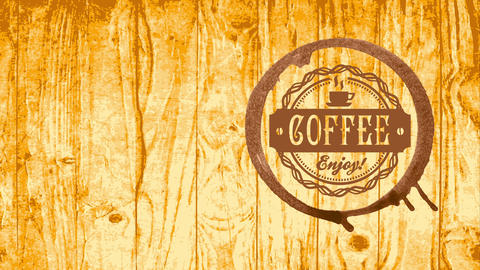 coffee store publicity with brown mug spot and circular embroidered symbol on wooden texture scene Animation