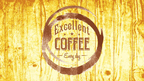 old cafe presentation sign offering excellent coffee everyday with vintage typography over bright Animation