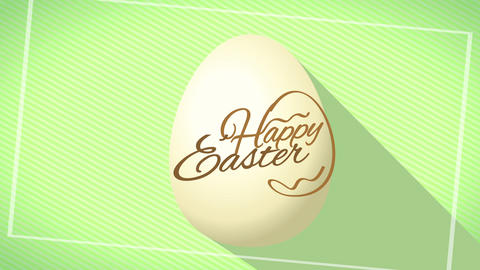 happy easter golden calligraphy creating graphic with edges written on realistic 3d egg over green Animation