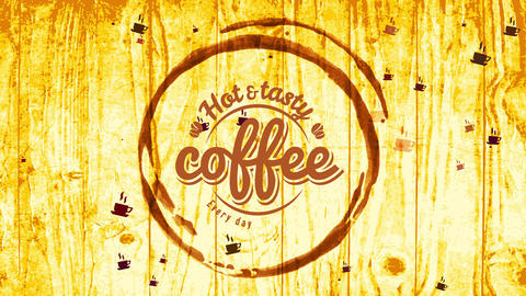 glowing and tasty coffee store sign board with cup spot cut on wooden table with vintage handwriting Animation