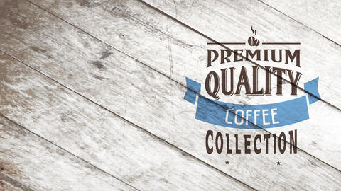 fancy coffee group advertising with classical typography garnished with blue ribbon and miniature Animation