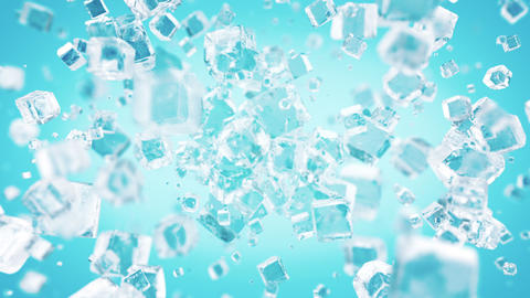 Exploding ice cubes in 4K Animation